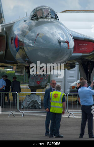 Farnborough Aerodrome, Hampshire UK. 15th July 2014. The international aerospace exhibition is the UK's biggest - Stock Photo