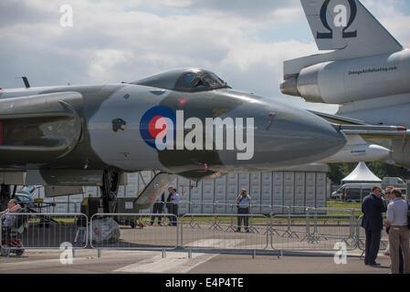 Farnborough Aerodrome, Hampshire UK. 14th July 2014. The international aerospace exhibition is the UK's biggest - Stock Photo