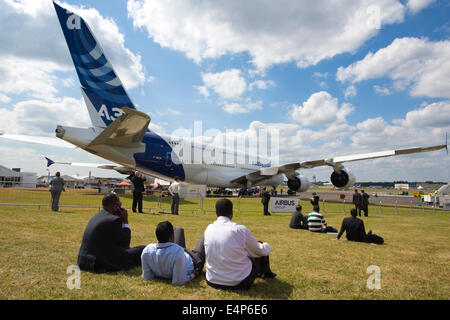 Airbus A380 on show at Farnborough International Airshow trade exhibition for the aerospace and defence industries, - Stock Photo