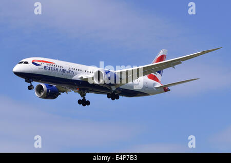 Boeing 787 Dreamliner operated by British Airways on approach for landing at London Heathrow Airport - Stock Photo
