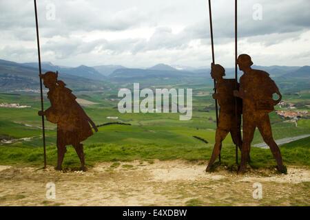 Alto del perdón on the Great walk of Saint James, Jakobsweg, Camino de Santiago, Spain, España, Spanien - Stock Photo