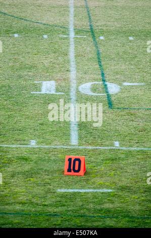 ten 10 yard line on football field - Stock Photo