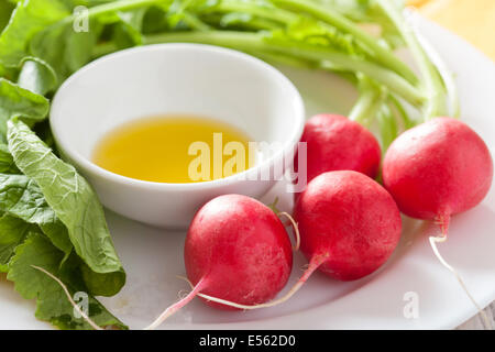 fresh radish and olive oil on plate - Stock Photo