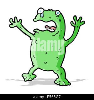 cartoon frightened frog - Stock Photo