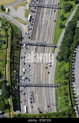 Aerial view, tunnel mouth of the Elbtunnel tunnel on the north side, motorway A7, Hamburg, Germany - Stock Photo