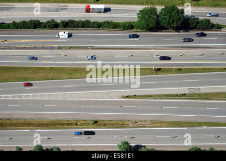 Aerial view, highway with many lanes, Hamburg, Germany - Stock Photo