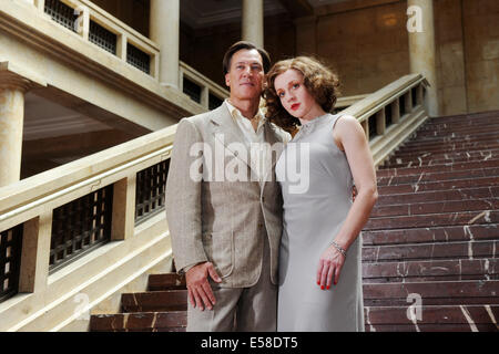 actors tobias moretti as luis trenker and brigitte hobmeier as stock photo royalty free. Black Bedroom Furniture Sets. Home Design Ideas