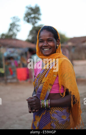 Portrait of a tribal woman. Abhuj Maria tribe, Orrcha, Chattisgadh, India - Stock Photo