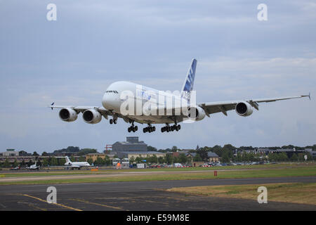 Airbus A380 taking off during the 2014 Farnborough Airshow. - Stock Photo