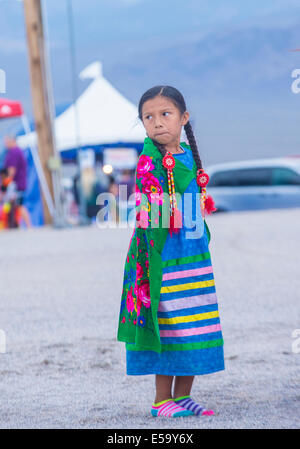 Native American girl takes part at the 25th Annual Paiute Tribe Pow Wow - Stock Photo