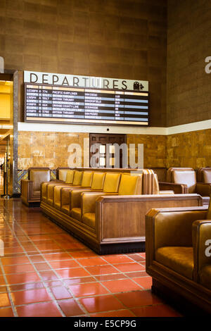 The restored art deco interior of Union Station in Los Angeles, California, USA - Stock Photo