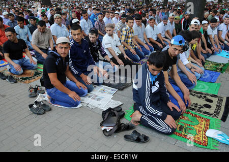 St.Petersburg, Russia. 28th July, 2014. Celebration of the Muslim holiday of Eid al-Fitr at the mosque in St. Petersburg. - Stock Photo