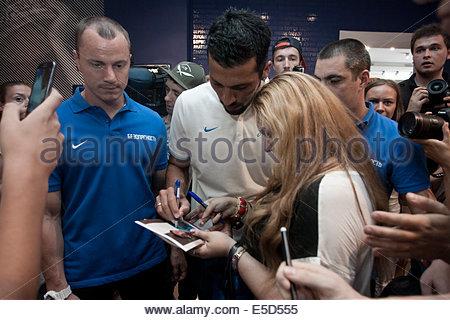 St. Petersburg, Russia. 28th July, 2014. New Zenit Petersburg's defender, Argentine Garay arrives in St. Petersburg, - Stock Photo