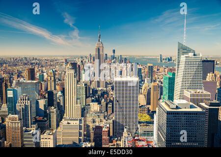 Manhattan aerial view - Stock Photo