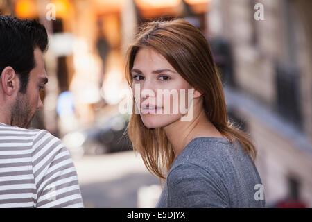 France, Paris, portrait of young woman - Stock Photo