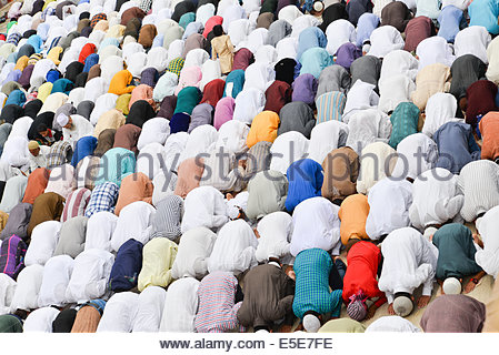 Jama Masjid, Ahmedabad, India. 29th July, 2014. Muslims celebrating Eid al-Fitr which marks the end of the month - Stock Photo