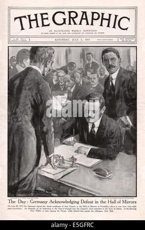 1919 The Graphic magazine front page reporting the signing of the Treaty of Versailles - Stock Photo