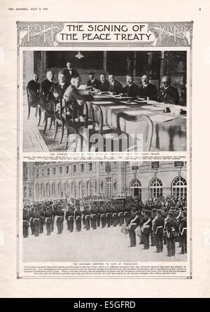 1919 The Graphic magazine page 5 reporting the signing of the Treaty of Versailles - Stock Photo