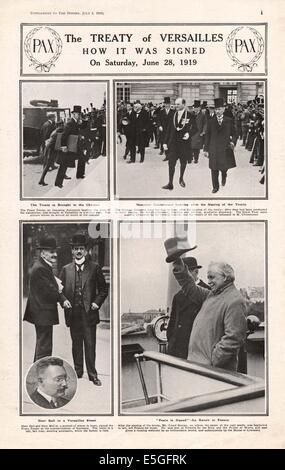 1919 The Sphere page reporting the signing of the Treaty of Versailles - Stock Photo