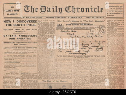 1912 Daily Chronicle half front page reporting Captain Amudsen discovers the South Pole - Stock Photo