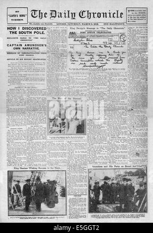 1912 Daily Chronicle full front page reporting Captain Amudsen discovers the South Pole - Stock Photo