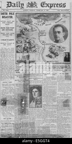 1913 Daily Express front page reporting the death of Captain Scott and comrades in Antarctica - Stock Photo