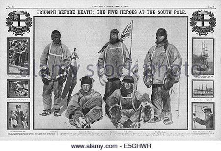 1911 Daily Mirror centre page showing Captain Scott and his companions at the South Pole - Stock Photo