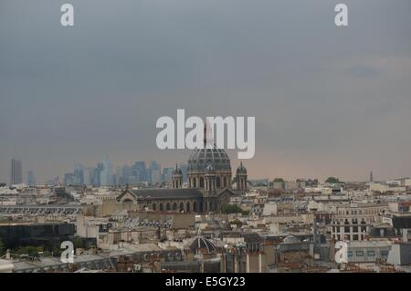 Panoramic view of Eglise Saint-Augustin de Paris Church of St. Augustine at sunset from rooftop garden on top of - Stock Photo
