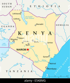 Kenya political map with capital Nairobi Republic in Africa with