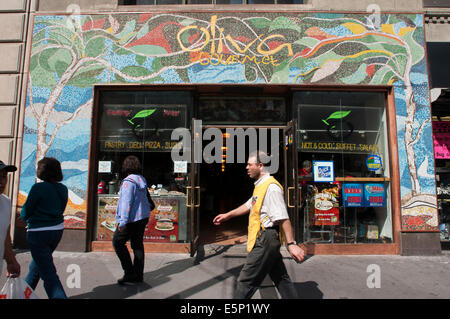 New York City The Bowery People Walking Down A Busy Commercial Stock Photo