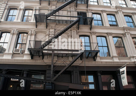 Fire Escape, Tribeca, Manhattan, New York City, New York. A fire escape is a special kind of emergency exit, usually - Stock Photo