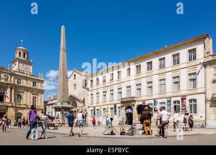 Main square in the historic center of Arles, Place de la Republique, Arles, Bouches-du-Rhone, Provence-Alpes-Cote - Stock Photo