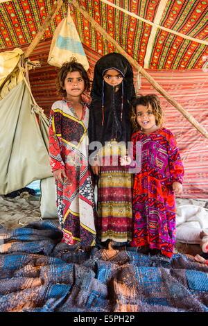 Rashaida children in their tent  in the desert around Massawa, Eritrea, Africa - Stock Photo