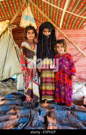 Rashaida children in their tent  in the desert around Massawa, Eritrea, Africa - Stockfoto