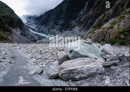 Franz-Joseph Glacier walk, Westland Tai Poutini National Park, Southern Alps, UNESCO Site, South Island, New Zealand - Stock Photo