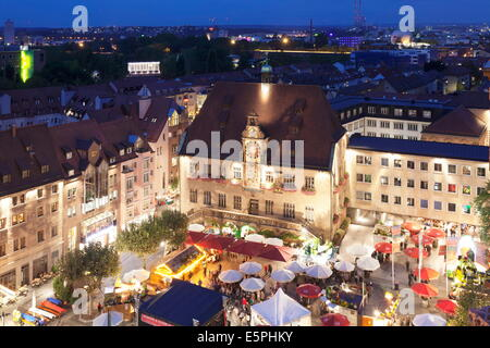 Festival of Wine in the Market Place, and Town Hall, Heilbronn, Baden Wurttemberg, Germany, Europe - Stock Photo