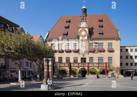 Town Hall with astronomical clock, Market Place, Heilbronn, Baden Wurttemberg, Germany, Europe - Stock Photo
