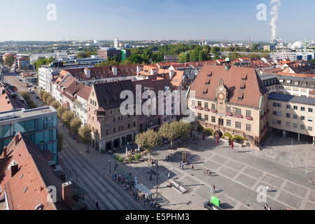 View from Kilianskirche church of Town Hall with astronomical clock and Market Place, Heilbronn, Baden Wurttemberg, - Stock Photo