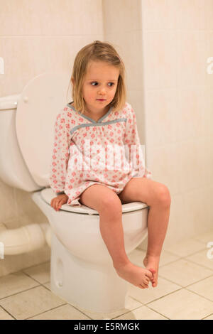 Potty training, toddler girl, one only little child sit on ...