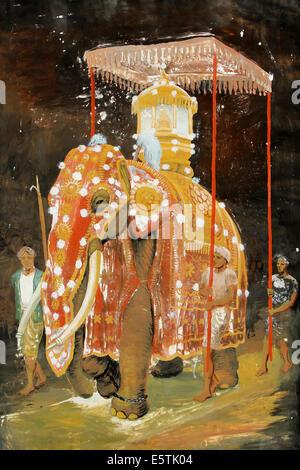 Decorated elephants, Buddhist festival Esala Perahera, Sri ...