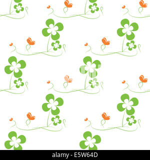 St. Patrick's day seamless pattern with clover and butterfly - Stock Photo
