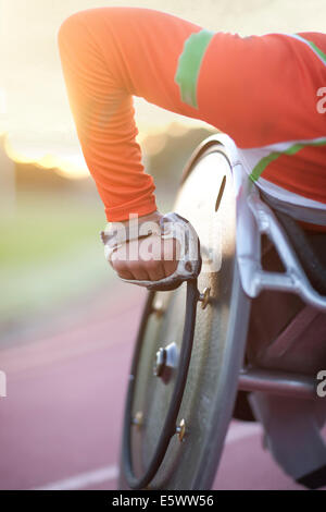 Close up of arm of athlete in para-athletic competition - Stock Photo