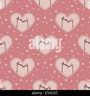 valentine`s day pattern with two  affectionate giraffes - Stock Photo