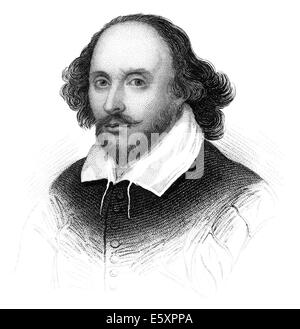 Portrait of William Shakespeare, 1564 - 1616, an English playwright, poet and actor - Stock Photo