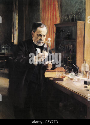 LOUIS PASTEUR (1822-1895) French chemist and microbiologist painted by Albert Edelfeldt in 1885 - Stockfoto