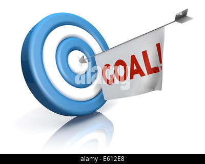 A blue-white target with arrow and goal word in a flag - Stock Photo