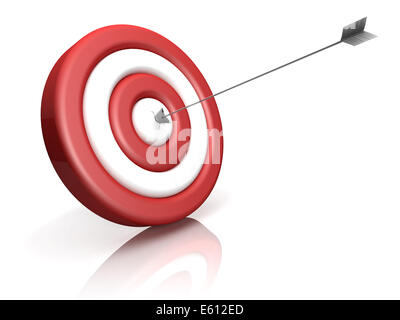 A red-white target with arrow in the center - Stock Photo