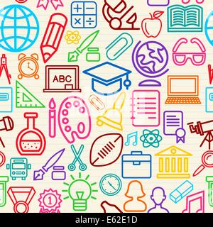 Education seamless pattern background with colorful school icons and symbols. EPS10 vector file organized in layers - Stock Photo