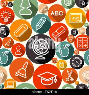 Education seamless pattern background with school icons and symbols. EPS10 vector file organized in layers for easy - Stock Photo