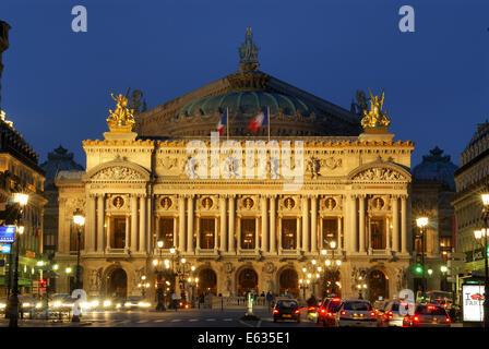 Paris Opera at twilight, Opera National de Paris, Paris, France - Stock Photo